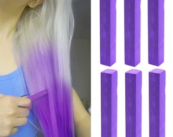 6 Best Temporary Vivid Purple hair Dye for dark and light hair - Set of 6 | DIY Purple hair Chalk for easy and simple hair coloring at home