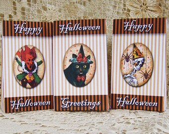 Halloween Candy Bags - Digital Mini Treat  Boxes - Devil, Black Cat, Skeleton - INSTANT Download CS61GB