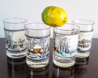 Vintage Currier And Ives Winter Scene Cocktail Rocks Glasses Seventies Christmas Mid Century Barware Arbys FREE SHIPPING
