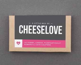 "Funny Love Basket Stuffer. Humorous, Hilarious Gift for Boyfriend, Girlfriend, Husband, Wife, Couple. Coupons. Sarcastic. ""Cheesy"" (L2CHZ)"