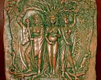 Maiden Mother Crone Triple Goddess Wall Relief