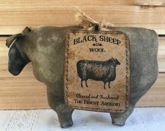 primitive black sheep - primitive ewe - black sheep - farmhouse decor - sheep decor - ranch decor - primitive country decor - primitive farm