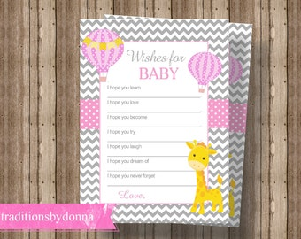 WISHES FOR BABY Cards Baby Shower Game for Girl   Giraffe Baby Shower   Hot Air Balloon Baby Shower   Pink and Gray Baby Shower Activity