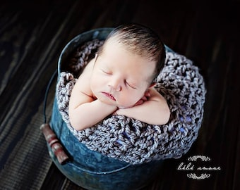 Chunky Baby  Blanket Newborn Baby Photography Prop  Blankets Photo Prop  Basket Filler Basket Stuffer  Gray