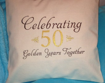 50 year Anniversary gift, embroidery pillow cover, anniversary pillow cover, embroidery pillow, custom pillow, anniversary year pillow cover