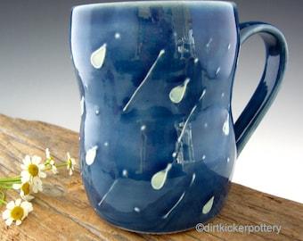 Handmade Pottery Mug with Raindrops - Coffee Mug - Large Mug - Rainy Day Mug in Midnight Blue - by DirtKicker Pottery