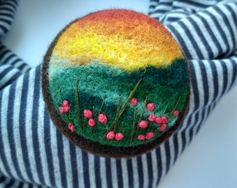 Womens jewelry gift Unusual gift ideas for her Boho chic charm brooch Needle felted brooch for scarf Sunset brooch Jewelry gifts