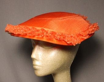 SALE  Tangerine Orange Church Crown Wedding Easter Sunday Hat
