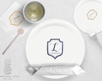 Monogram Crest | Plates, Napkins or Cups Stir Stick | Weddings, Bachelorette, Engagement Bridal Parties or Baby Showers | social graces Co