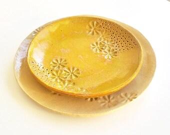 Set of 2 round ceramic plates, serving dish, serving plates, snacks set, dessert plates, serving trays, decorative plates, rustic pottery
