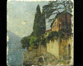 Set of 4 Marble Coasters - Villa in Lake Como Italy