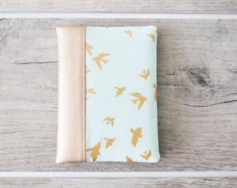 Passport Wallet, Travel Wallet, Travel Organizer, Passport Cover for 2 (Two) - Faux Leather - Metallic Gold - Birds