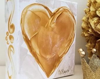 A Heart of Gold - Love Struck - Golden Heart - Original Acrylic Painting on Canvas by Suzanne MacCrone Rogers