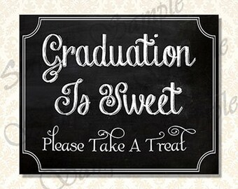 Graduation Is Sweet Sign, Class of 2018 Chalkboard Grad Party Decorations, Printable Dessert  Bar Sign, Candy Bar Sign, 9001