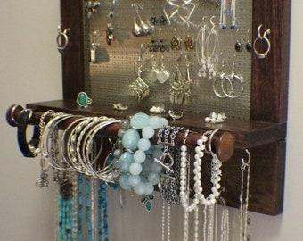 ON SALE Classic Dark Cherry and Chrome with Bracelet Bar Stained Wall Mounted Jewelry Organizer Wall Organizer Jewelry Display