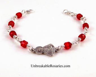 Sacred Heart of Jesus Wire Wrapped Religious Charm Bracelet Red Cathedral Glass by Unbreakable Rosaries