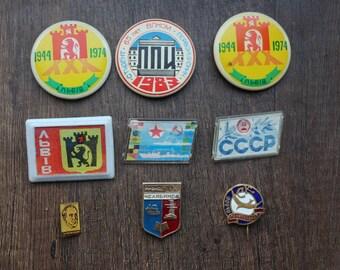 Soviet metal badges, 9 badges on pins, USSR, different badges, set# 32