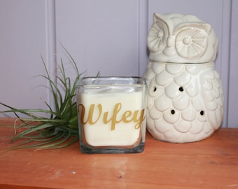 Wifey Soy Candle, housewarming Candle, Wood Wick Candle, Hipster Candle, Gifts for her, Anniversary Gift, Wedding Gift