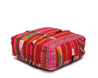 Moroccan Pouf, Floor Cushion, Kilim Pouf Ottoman, Floor Pillow, Foot Stool, Refashioned from a Vintage Moroccan Berber Rug. A132