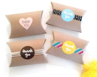 12 blank pillow kraft boxes - pillow favor box - wedding favors kraft boxes - gift boxes - kraft pillow box - gift wrapping - paper goods