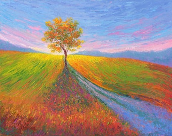 Impressionist oil painting Alone by the Side of the Road original Impressionistic knife painting tree colorful field