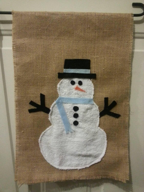 Snowman Flag / Snowman Burlap Flag / Snowman Garden Flag /