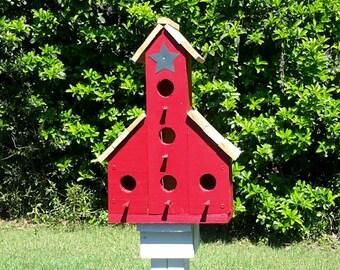 Red Barn Birdhouse, Large Outdoor Birdhouse, Handmade Cyprus Birdhouse, Functional Wooden Birdhouse, Garden Decor, Gift Giving