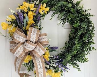 Eucalyptus wreath, farmhouse wreath, rustic wreath, farmhouse decor grapevine wreath, Summer wreath