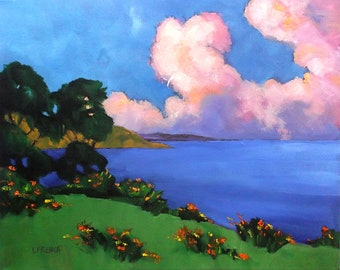 Sunrise Clouds Monterey Bay Pacific Poppies Painting California Plein Air Landscape 16x20 Lynne French