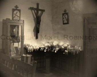 Mission Church. New Mexico. Black and White. Original Digital Photograph Art Print. Wall Art. Wall Decor. CHIMAYO by Mikel Robinson