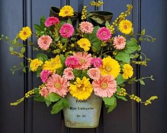 SPRING Door Decor, Spring Wreath for Front Door, Gerber Daisy Wreath, Yellow Daisy Wreath, Wreaths for Spring, Spring Door Wreaths, Wreaths