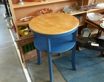 Denim and gold side table