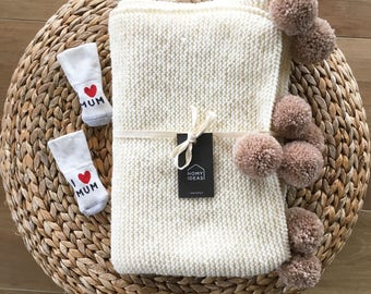 Baby knitted blanket WHITE SNOW