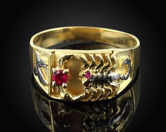 Gold Scorpion Red CZ Mens Ring (yellow, white, 10k, 14k)