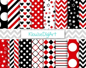 Red and Black Ladybug Printable Digital Paper Pack with Chevrons, Polka Dots and Stripes for Personal and Small Commercial Use (0086)