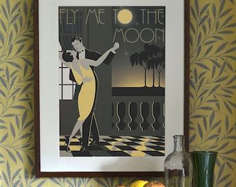 Original Design A3 A2 A1 Art Deco Bauhaus Poster Print Frank Sinatra Fly Me To The Moon Vintage Dance Tango Couple Vogue 1940's 1930's