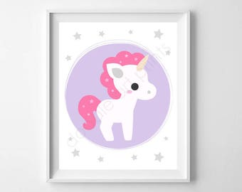 Unicorn Art Print, Unicorn Wall Art, Nursery Art Print, Unicorn Party Sign, Girl Room Decor, Printable Digital Instant Download 8x10""