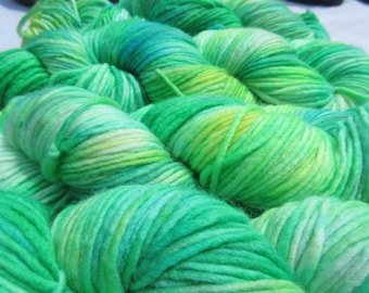 Grasshopper Hand-Dyed Yarn, Superwash Merino Wool, Single Ply, DK Weight