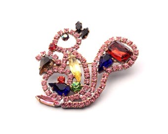 Vintage handmade Czech glass rhinestone figural squirrel pin brooch
