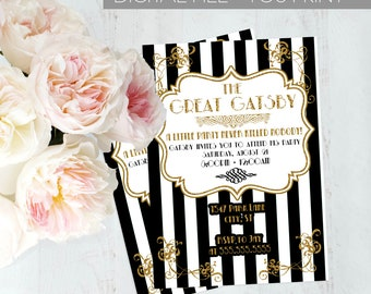 Gatsby Party Invitation, The Great Gatsby Party Invite, Gatsby Party, Black and Gold Invitation,  DIGITAL YOU PRINT
