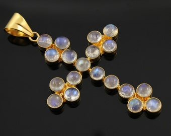 Natural Rainbow Moonstone Pendant in Gold Vermeil,  47x62mm Incredible Blue Fire to Illminate Your Style., 1 Piece (RNB-CR-102)