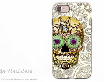 Bone Paisley Sugar Skull iPhone 7 / 8 Tough Case - Dia De Los Muertos Dual Layer Case for Apple iPhone 7
