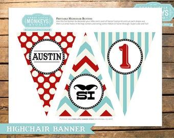 Little Man Mustache Highchair High Chair Banner Bunting