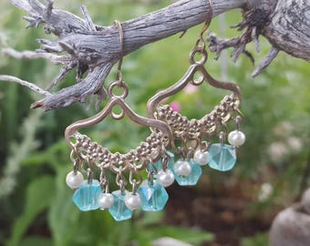 Turquoise Chandelier Earrings, Light Blue Dangle Earrings, Gypsy Earrings, Boho Earrings