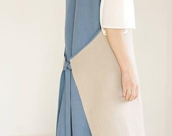 linen pinafore - linen apron dress - linen pinafore apron - linen smock dress - blue pinafore dress - smock apron