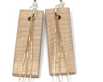 Curly Maple, Hammered Bronze, and Sterling Silver Earrings