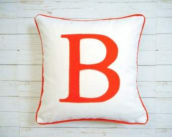 Personalized Pillow Cover , Monogram Pillow, Orange Letter pillow, letter pillowcase, initial pillow, Orange monogram, Custom, Personalized