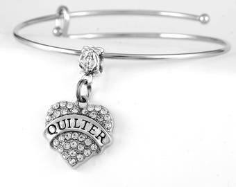 Quilter Bracelet Crystal Heart Quilter Charm Bracelet Quilter Jewelry Quilter gift