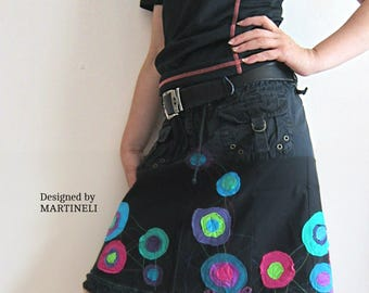 M/L Black Embroidered Skirt Recycled Denim Upcycled Clothing  Boho Skirt Gypsy Sk Patchwork Skirt Colorful Skirt
