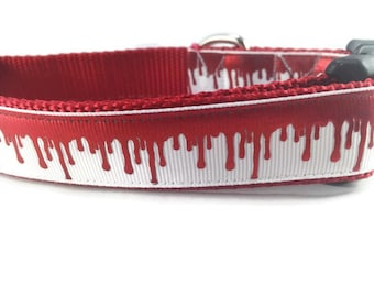 Halloween Dog Collar, Blood Drip, medium, 13-19 inches, 1 inch wide, adjustable, quick release